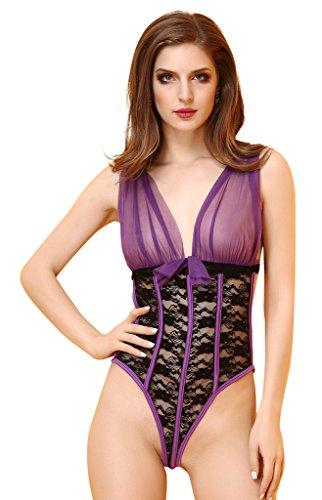 Smile YKK Femme Lingerie Combinaison Sexy Col V Profond Dentelle Déguisement Babydoll Erotique Violet