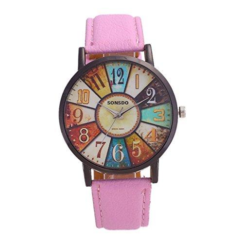 DEELIN Damen Uhren Sommer Harajuku Graffiti Muster Lederband Analoge Quarz Mode Armbanduhren (Rosa)