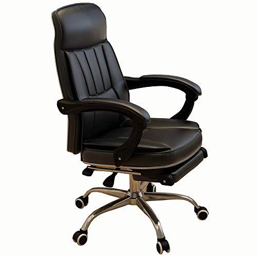 ch-AIR Computertisch Stuhl PU Leder Bürostuhl Bequeme Rückenlehne Geketteter Handlauf mit Pedalauflage 250Kg,Schwarz