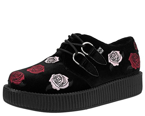 T.U.K. Shoes Womens Snake & Roses Velvet High Sole Creeper Brown & Multi Colour