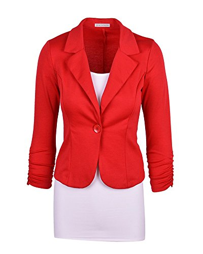 Kasen Donna Maniche Lunghe Cardigan Breve Blazer Cappotto Coat Jacket Giacca Outwear Rosso S
