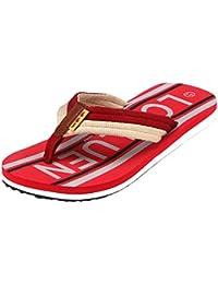 Yiiquanan Herren Zehentrenner Sommer Pantoletten Essential Beach Sandal Brief Drucken mit Weich Solen