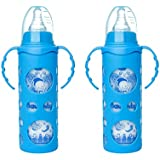 NAUGHTY KIDZ PREMIUM BOROSILICATE HANDY GLASS BOTTLE WITH ULTRASOFT LSR NIPPLE||SILICONE BOTTLE WARMER||EASY TO HOLD HANDLE||KEY TEETHER||HOOD RETAINING CAP AND SEALING DISC RING -250ML+250ML (BLUE+BLUE)