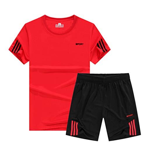 Inlefen Kurzärmliges Sport-Shirt Herren schnell trocknend Laufendes T-Shirt für Jungen Sportkleidung Trainingskleidung Jersey Fußballbekleidung Anzug Rot -M