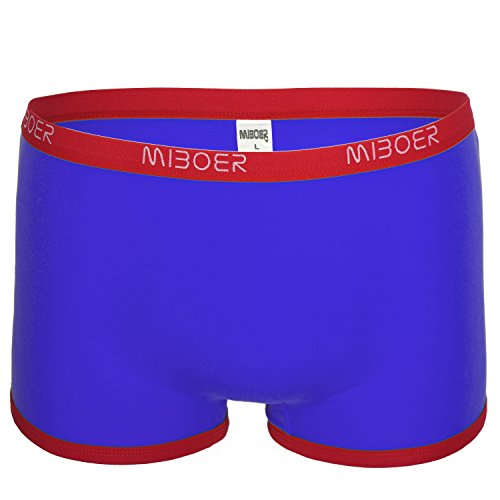Herren Retroboxer Baumwoll Boxer Brief vorne ohne Naht blau Größe L/XL (Joe Unterwäsche Boxer)