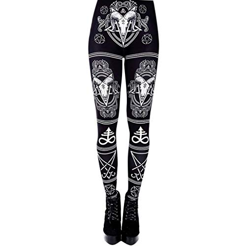 WOZOW Damen Leggings Gamaschen Punk Totem Pattern Print Druck Ethnic Cool Dünn Skinny Stretch Trousers High Waist Slim Lang Long Sport Hose Yoga Stoffhose (XL,Schwarz)