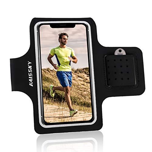 """HAISSKY Fascia da Braccio Portacellulare per Correre Sweatproof Fascia Sportiva da Braccio con Chiave e Riflettente Armband per iPhone XS Max XR X 8 7 6s Plus Galaxy S10/S9/S8edge,Huawei Fino a 6.5"""""""