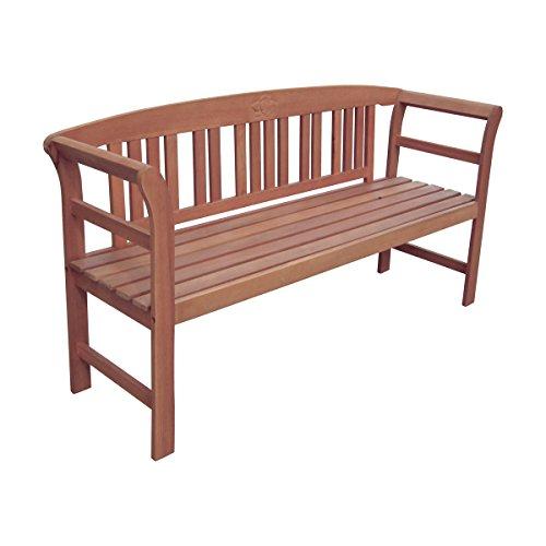 VARILANDO 3-Sitzer Gartenbank mit 'Rosen-Ornament' aus geöltem Eukalyptus Sitzbank Holzbank Parkbank