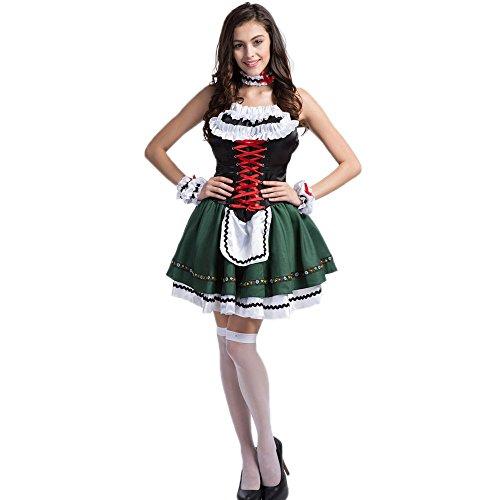 f00eb8646f69a4 KAGU CULTURE 3 tlg Oktoberfest Dirndl Set - mit Trachtenkleid Armband und  Halsband Damen Mädchen Krüger