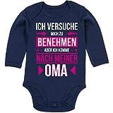 Shirtracer Sprüche Baby - Ich versuche Mich zu benehmen Aber ich komme nach meiner Oma - 3-6 Monate - Navy Blau - BZ30 - Baby Body Langarm