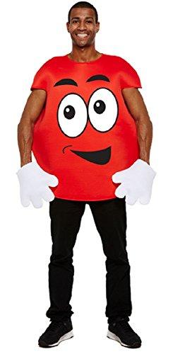 Herren Damen m & Ms Süß Nahrung Junggesellinnenabschied Junggesellenabschied Party Lustig Kostüm Kleid Outfit - Rot, One Size