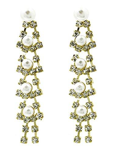 beyoutifulthings Damen Edelstahl 1 Paar Ohrringe gelbgold Hängendes Geflecht mit Zirkonia farblos und Perlen creme Länge 5,1cm -