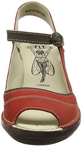 Fly London P300659008, Sandali con Zeppa Donna Rosso (scarlet/khaki 001)