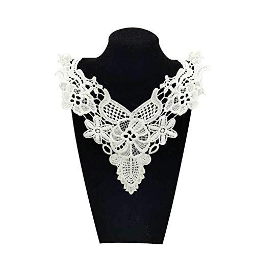 Cuello de encaje bordado para manualidades, adornos de costura, adornos para collar, color blanco