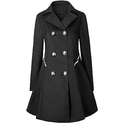 La mujer Trabajo Plus Size Vintage simple zanja Coat,alcanzó sólido de manga larga de solapa,Negro,M