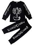 AIDEAONE Kleine Mädchen Jungen Baumwolle Langarm Pyjamas Sets Lustige Skeleton Nachtwäsche