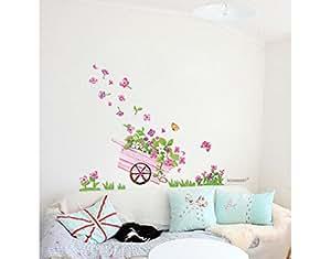 blumen schmetterling wandtattoo kinderzimmer schlafzimmer wohnzimmer ld649 k che. Black Bedroom Furniture Sets. Home Design Ideas