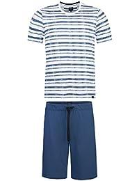 strellson Ensemble de pyjamas pour hommes, court, col rond, imprimé rayé - bleu foncé