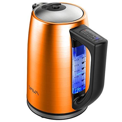 Elektrischer Wasserkocher mit Temperatureinstellung, VAVA Wasserkocher Edelstahl 1.7L f¨¹r alle Getr?nke BPA-Frei Trockengehschutz Warmhaltefunktion