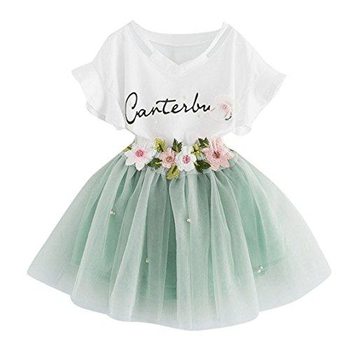 Yuan Baby Mädchen Kleidung Set 2 Stück Tops+ Rock Tütü Pettiskirt Geburtstag Geschenk Outfits Verkleidung (4 Jahre, Grün) (2 Blumen-rock Stück)