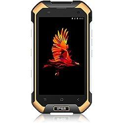 """Blackview Smartphone IP68, BV6000 Androïd 7.0 Outdoor Smartphone Débloqué Ecran 4.7"""" HD Téléphone Etanche/Antichoc/Antipoussière MT6755 Octa Core RAM de 3 Go et ROM de 32 Go Mobile Phone 4g-Jaune"""