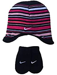 separation shoes b5ae3 fedbc Nike Toddler Girls Pink Black Striped Knit Hat and Mittens Set Size 2 4T