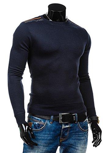 BOLF Herrenpullover Pulli Sweatshirt Sweatjacke Sweater Top Rundhalsausschnitt S-WEST 6033 Dunkelblau