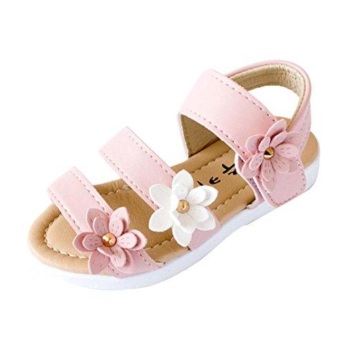 Sommer Kinder Kinder Sandalen Mode Große Blumen Mädchen Flache Prinzessin Schuhe Mädchen Frühling Prinzessin Sandalen Sandale mit weichen Sohlen Baby Lauflernschuhe (29, Rosa) (Mädchen Stiefel Größe 3)