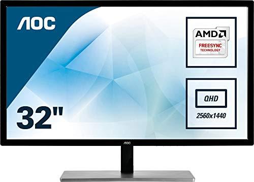 AOC Q3279VWFD8 80,1 cm (31,5 Zoll) Monitor (DVI, HDMI, DisplayPort, 4ms Reaktionszeit, 2560 x 1440, 75Hz, FreeSync) schwarz