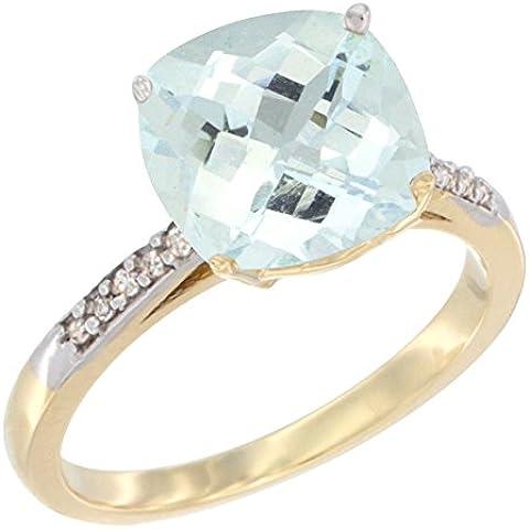 Oro giallo 14 k, con acquamarina naturale 9 mm-Cuscino, taglio a diamante accent, taglie J-T - Taglio Cuscino Diamante