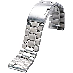 YISUYA Sliver 22mm Solid Stainless Steel Watch Band Strap 2.2cm Single-locking Fold-over Clasp Polished Metal Watch Bracelet
