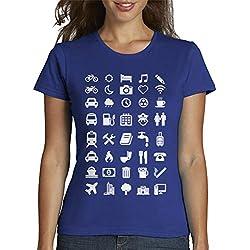 latostadora - Camiseta Emoticonos Viajeros para Mujer Azul Royal S