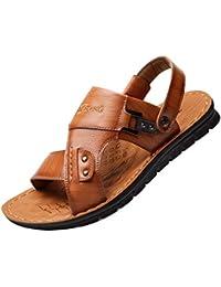 Pelle Artificiale Sandali da Uomo Ciabatte Casual Open Toe Scarpe da  Spiaggia Traspiranti 706d1caa432