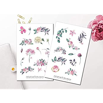 Dunkle Rosen Sticker Set | Florale Aufkleber | Journal Sticker | Blumen Sticker | Planersticker | Sticker Floral, Blumenstrauß, Rosen