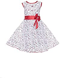 YAYAVAR Girls Cotton Made Floral Printed White & Red Colored Casual Frock for Girls - Set of 01 from 02-08 Years