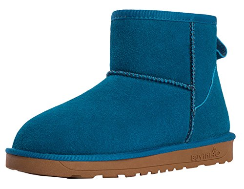 BUYINIAO Bottes femme Bottes de neige Boots de cuir hiverr Bleu