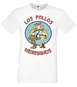 Los Pollos Hermanos Male T-Shirt Mens White Breaking Bad Top