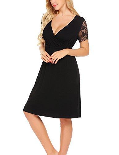 Unibelle Damen Umstandskleid Spitzenkleid Schwangerschafts Kleid V-Ausschnitt mit Kurzarm