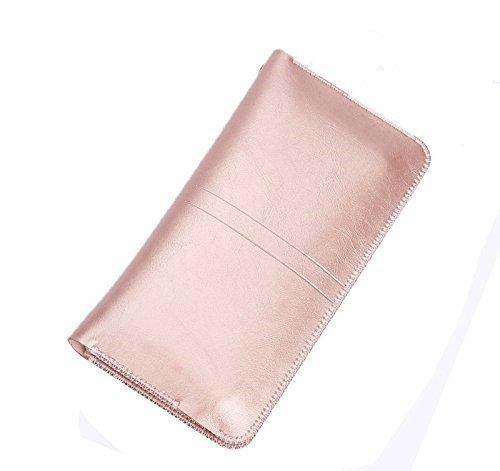 iPhone Samsung universal Smartphone PU Leder Handyschale elegant Wallet Ledertasche Schutzhülle kann als Damen und Herren Geldbörse Geldtasche perfekt für Smartphone bis zu 5,5 Zoll z.B. iphone 7/7 Plus, iphone 6/6s Plus Samsung Galaxy S6 usw. (Rose gold)