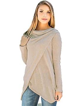 OverDose blusas para mujer elegante manga larga Irregular tapas S-XL