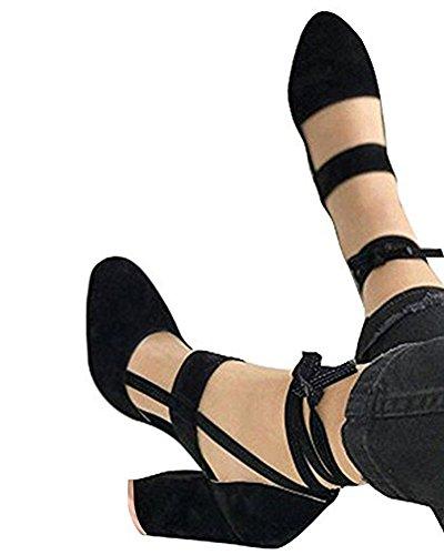 Minetom eleganti donna moda sandali da sposa tacco a spillo tacchi alti sottili block partito scarpe da sposa aperte con cordoncino nero eu 41