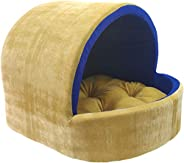 Mellifluous Small Size Dog and Cat Cave Pet Bed, Golden-Blue