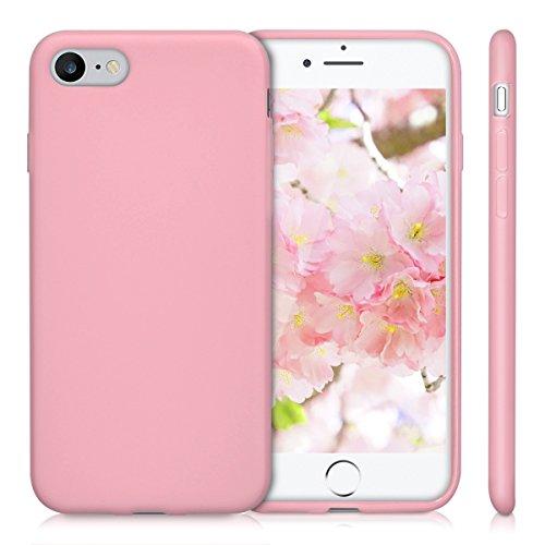 kwmobile Hülle für Apple iPhone 7 / 8 - TPU Silikon Backcover Case Handy Schutzhülle - Cover Rot matt .Altrosa matt