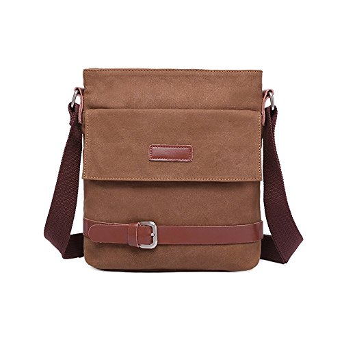 VRIKOO Leisure Vintage Canvas Shoulder Bag Work Business Travel Crossbody Messenger Bag (Coffee) Caffè
