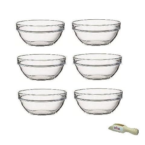 Viva Haushaltswaren - 6 x kleine Schüssel aus Glas (Ø 9 cm), als Glasschälchen sowie als Dipschale, Dessertschale, Tapasschale geeignet (inkl. kleiner Holzschaufel 7,5 (Runde Dip)
