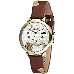 Casual Leather Strap Multicolor Cat Quartz Wristwatch For Women,Brown