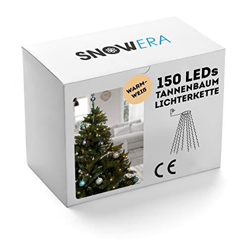 Snowera 150er LED Weihnachtsbaumlichterkette in warmweiß   Überwurf Lichterkette für innen   Lichterkette mit Timer für Weihnachten - Einfach und schnell dekorieren - 10 Stränge a 15 LEDs je 1,50 m -