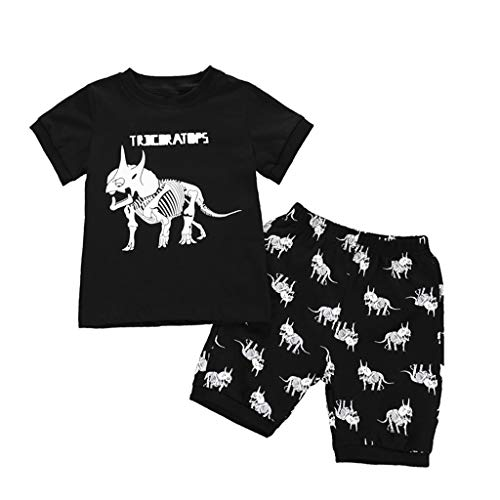 Alwayswin Kinder Jungen Babykleidung Sommer Cartoon Outfits Dinosaur Print Tops T-Shirt + Shorts Pyjamas Set Bequem Baumwolle T-Shirt Gummiband Shorts Schwarz Cool Kinderbekleidung (Outfit Schwarz Toms)