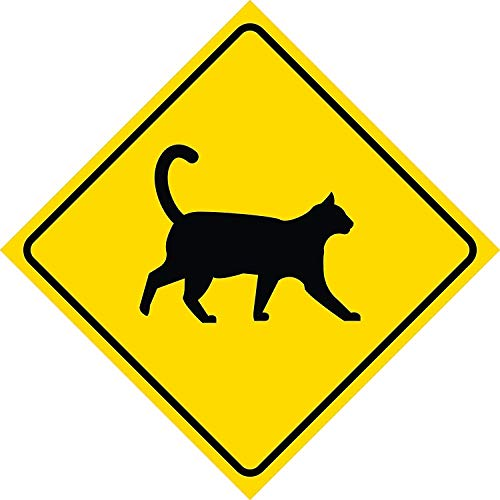 DOGT Metal Sign 12x12 inches Yellow Diamond Caution Cat Crossing Signs Commercial Plastic Square Sign - Single Sign -