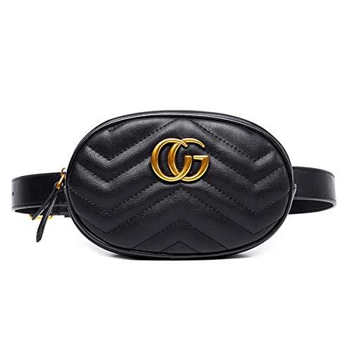 MISSKEKE Damen Mode-Hüfttaschen PU Leder - ❤️ Mini Belt Bauchtasche und Handytasche 2018 Star mit dem gleichen Absatz Oval Taschen Schultertasche Damen Kleine Handtasche (Schwarz CG)